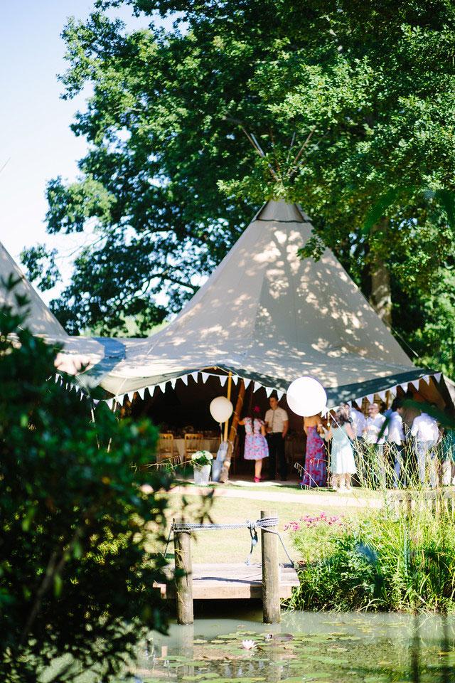 Tipi wedding in back garden in Sussex