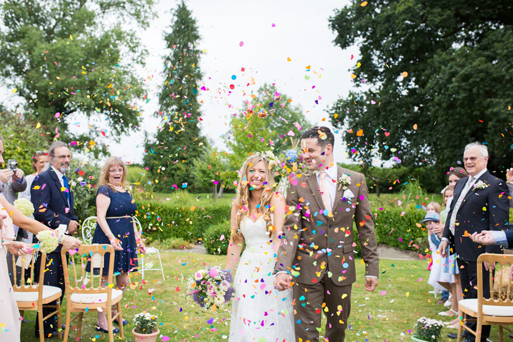 Lynsi and Paul after their wedding ceremony at their Tipi Wedding in Guildford, Surrey